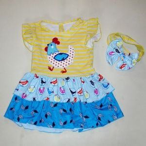 Toddler Girl Chicken Dress & Headband Size 4T NEW
